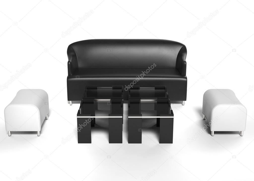 Set de sala de estar muebles - sofá de cuero negro con blanco ...
