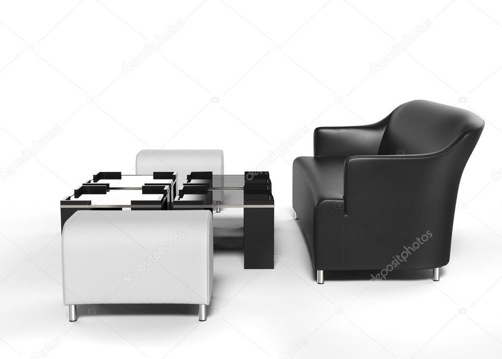 Sofá negro con blanco otomanas y mesas delante de ella — Foto de ...
