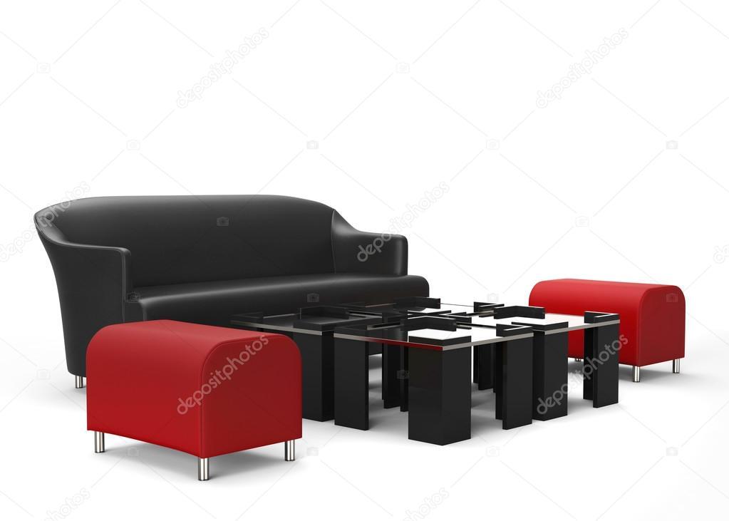 Woonkamer Meubel Set : Woonkamer meubels set rode ottomanen in focus u stockfoto