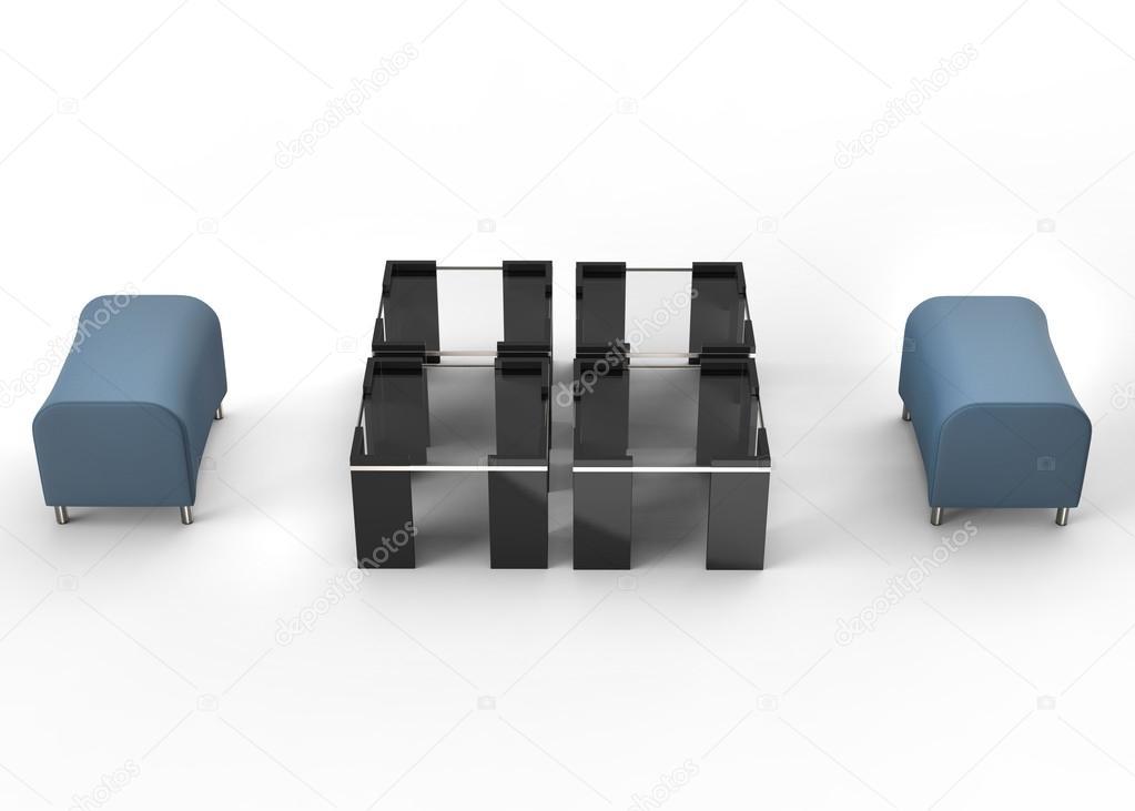 Dos otomanos azul y negro mesas entre ellos — Foto de stock ...