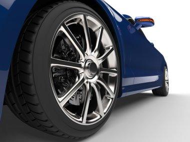 Modern blue car - low angle power shot