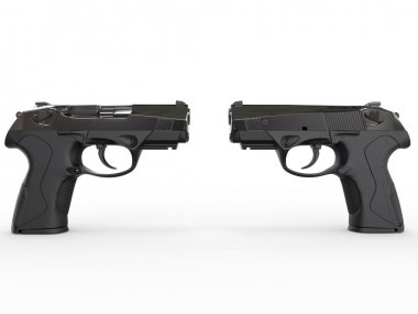 Two modern black semi-automatic pistols
