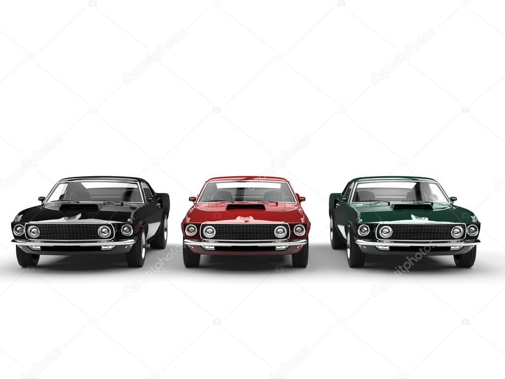 Great vintage muscle cars - classic colors — Stock Photo ...