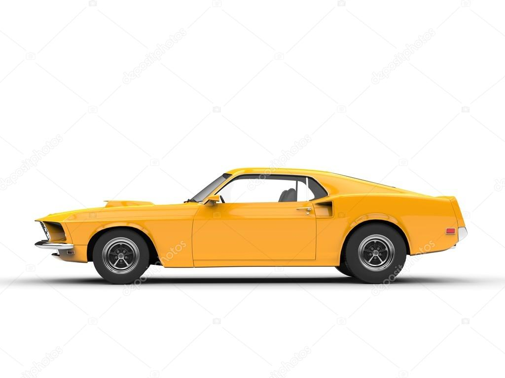 Awesome Yellow Muscle Car Side View Stock Photo C Trimitrius