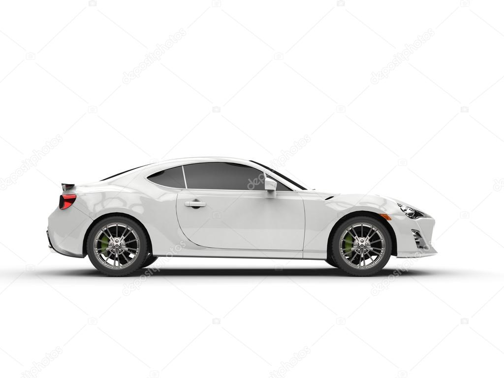 White Generic Sports Car Side View Stock Photo C Trimitrius