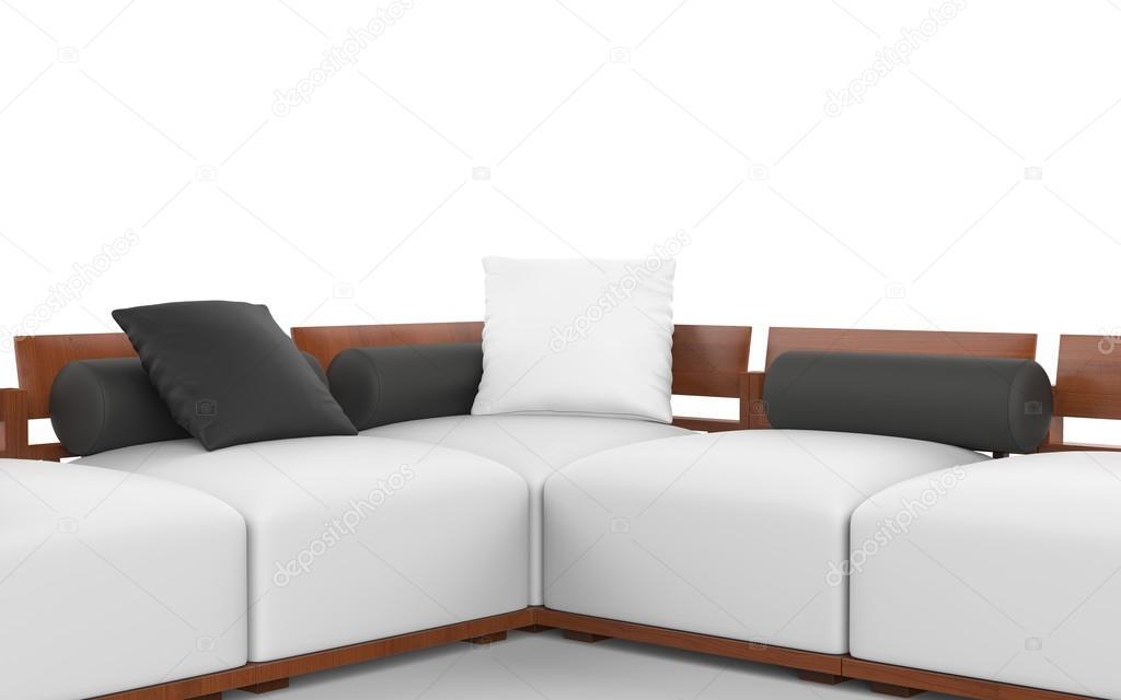Divani Bianchi E Neri : Divano ad angolo con poggiatesta in legno sedili bianchi e neri