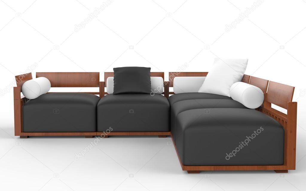 Divani Bianchi E Neri : Divano ad angolo con poggiatesta in legno neri sedili e cuscini