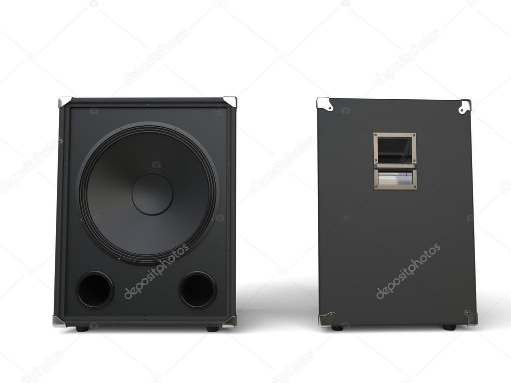 Subwoofer högtalare - front och sida Visa — Stockfotografi ... 9fdb626f46b31