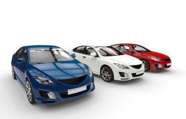 Three Cars Showroom - Side View