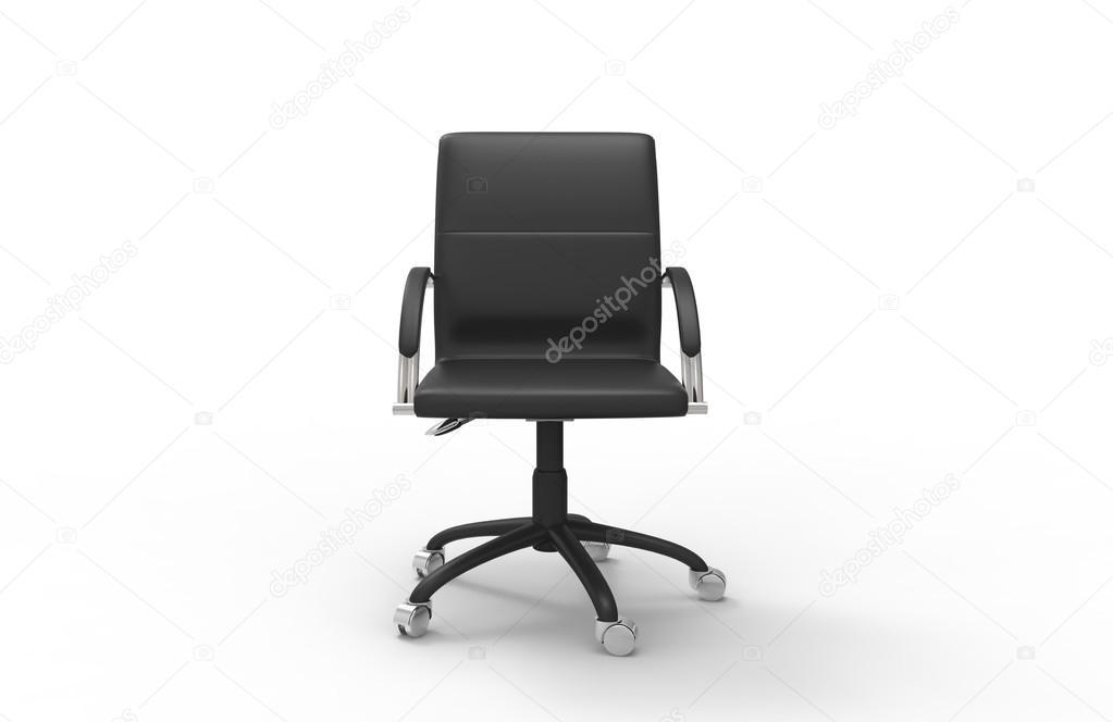 Lederen stoel van het bureau vooraanzicht u stockfoto