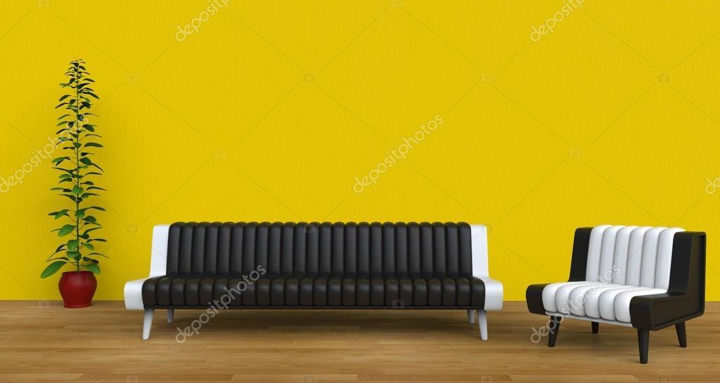 Moderne woonkamer geel — Stockfoto © Trimitrius #83371468