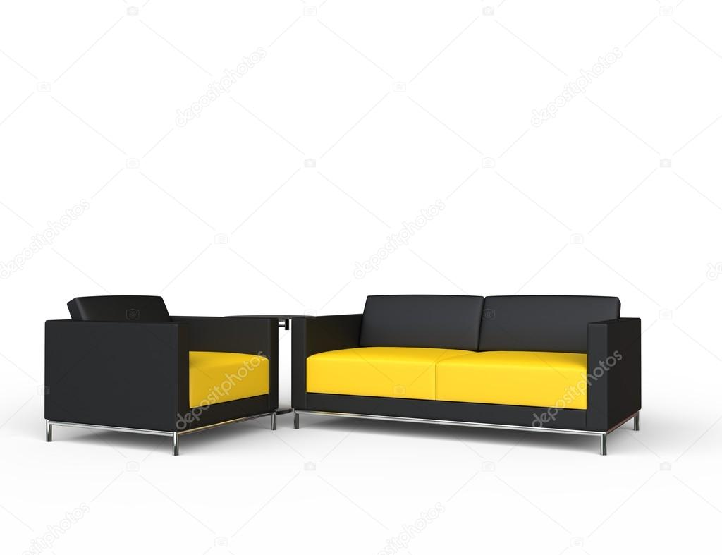 Black And Yellow Sofa And Armchair Set U2014 Photo By Trimitrius