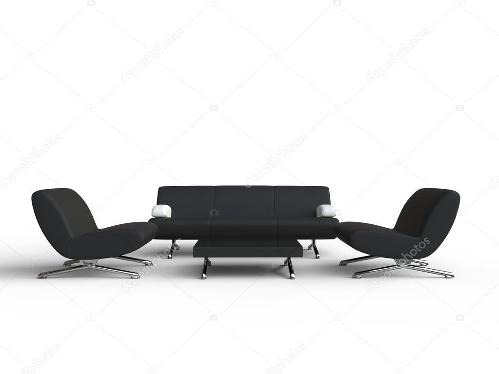 Sistema de sala de estar muebles negro — Foto de stock © Trimitrius ...