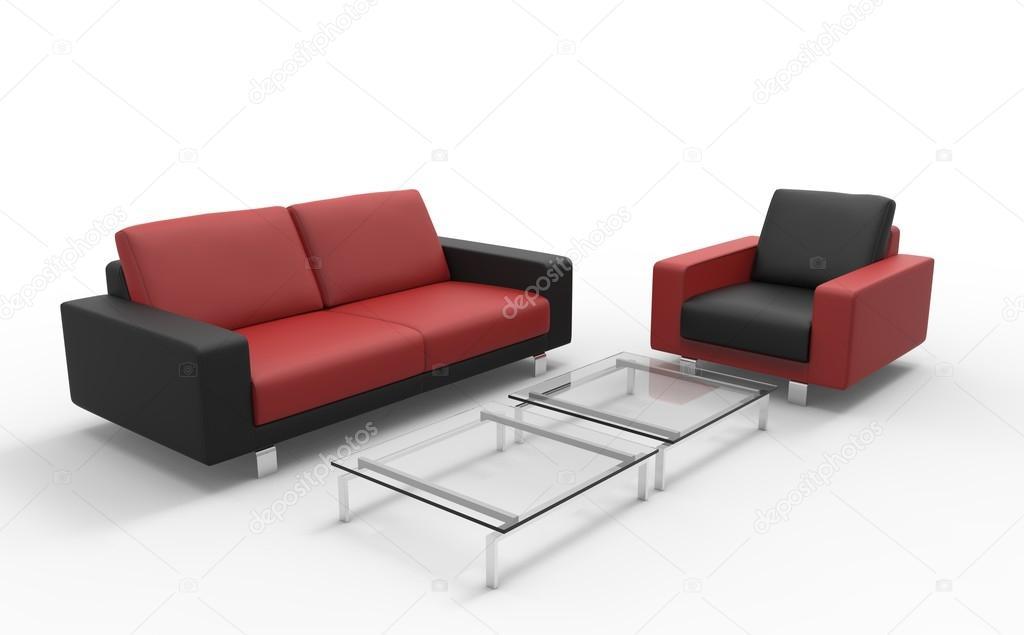 Divano Rosso E Nero : Pouf e divano rosso e nero u foto stock trimitrius