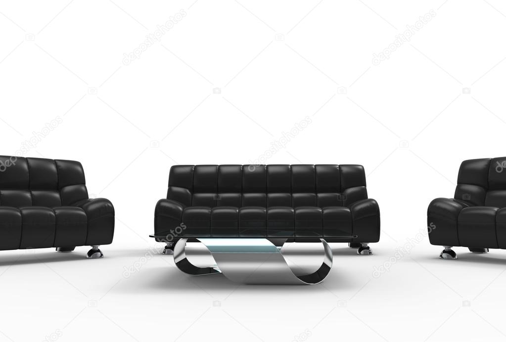 Ensemble de meubles de salon moderne en cuir — Photographie ...
