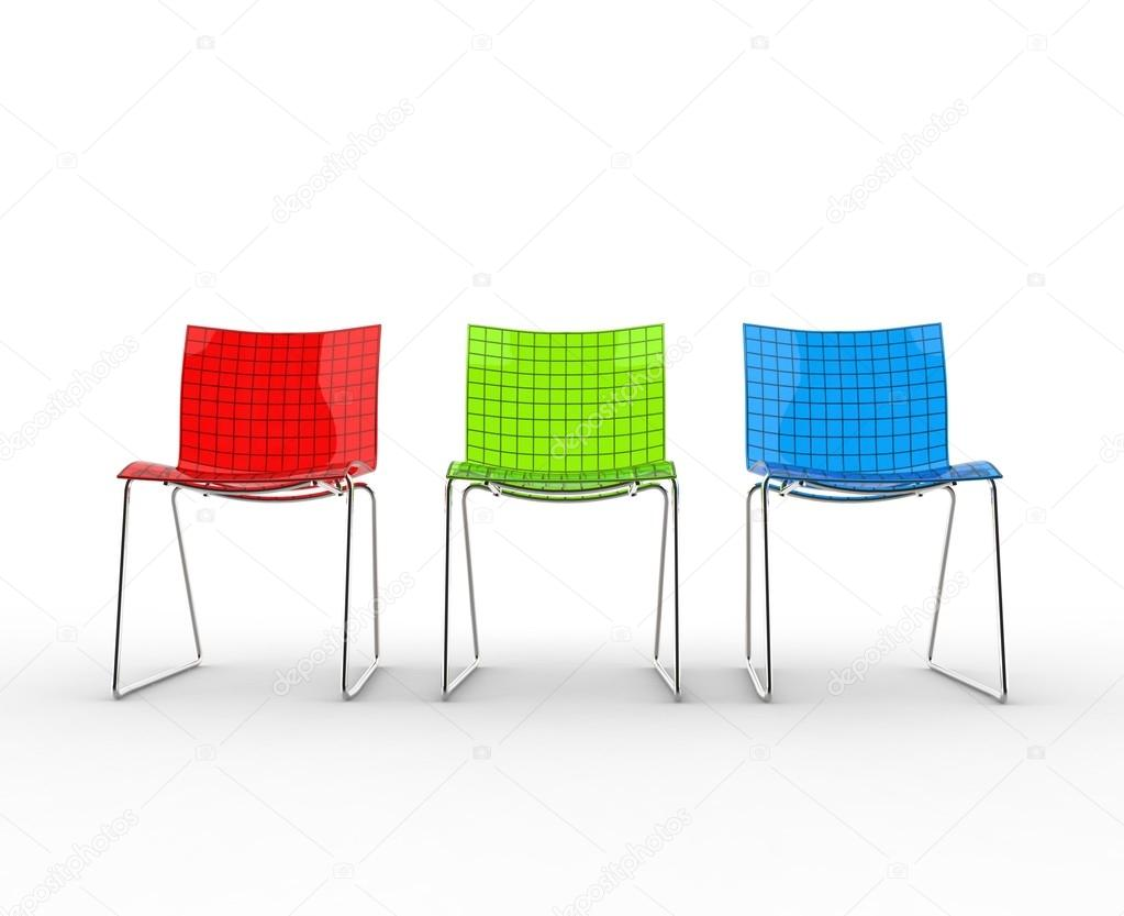 Modern plastic chairs - Row Of Colorful Modern Plastic Chairs Stock Photo 83375246