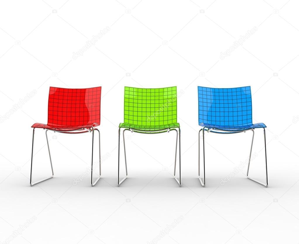 Fila di sedie di plastica moderne variopinte — Foto Stock ...