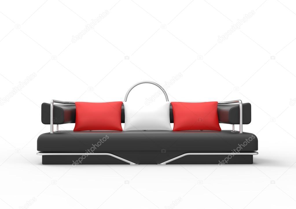 Divano Nero Cuscini : Divano nero con cuscini bianchi e rossi vista frontale u2014 foto