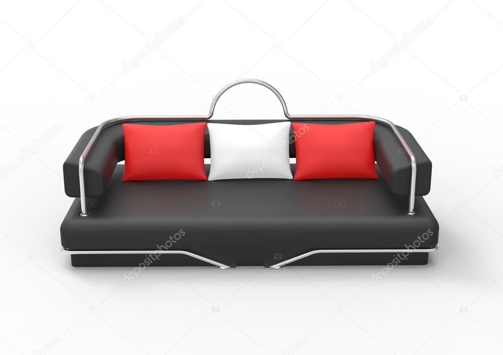 Divano Nero Cuscini : Divano nero con cuscini bianchi e rossi u2014 foto stock © trimitrius