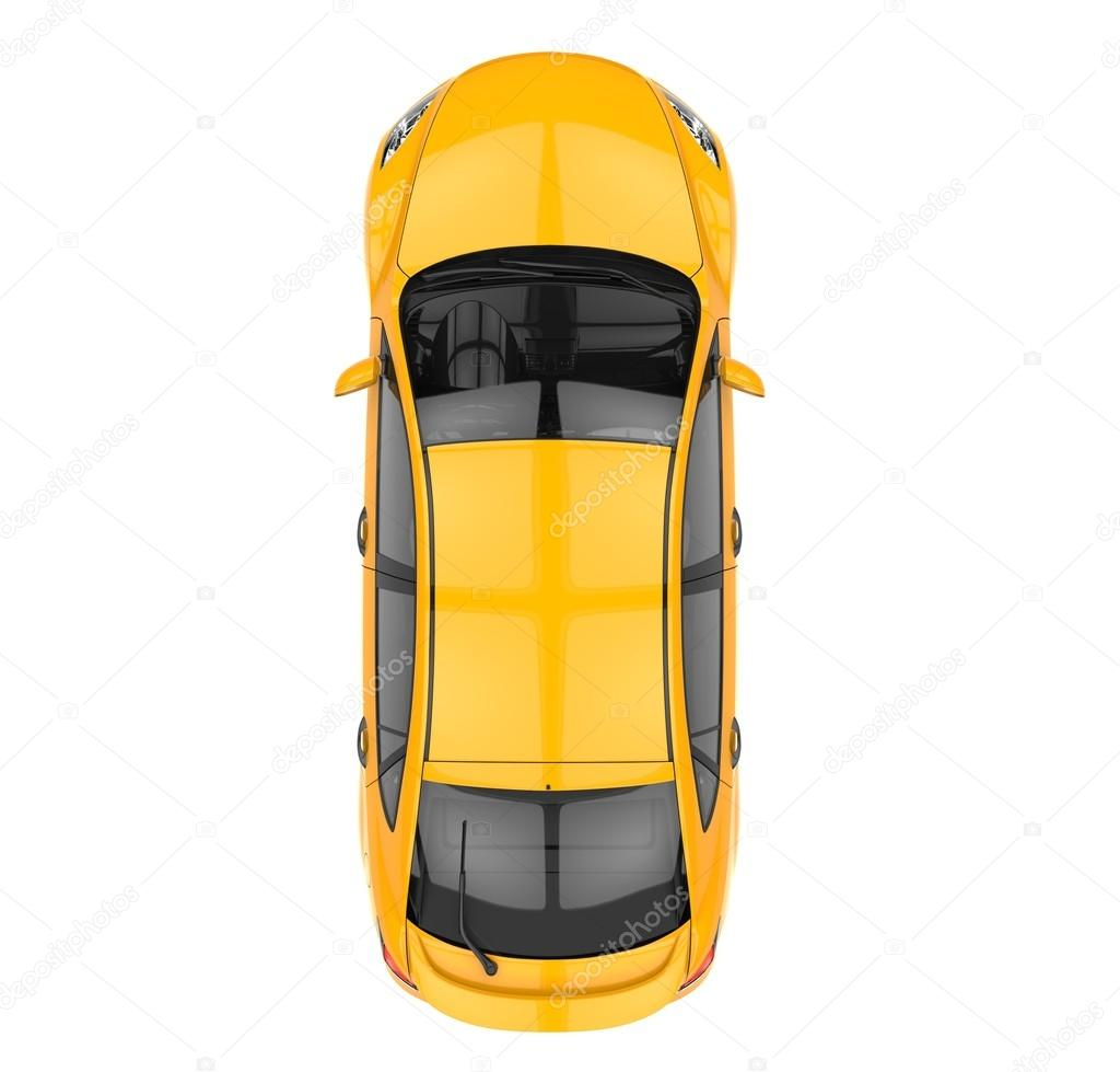 Yellow Car - Top View — Stock Photo