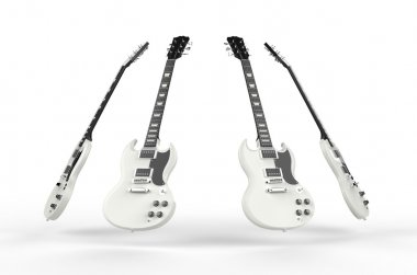 Four white electric guitars