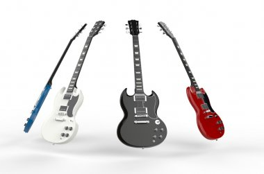 Four electric guitars all different colors.
