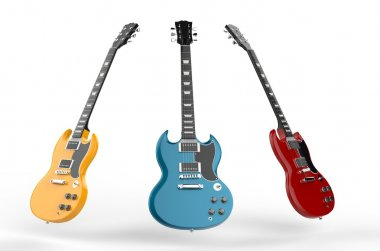 Yellow, blue and red electric guitars