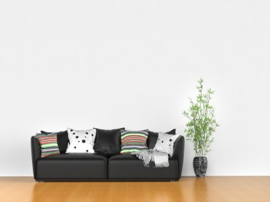 Simple room with modern sofa stock vector