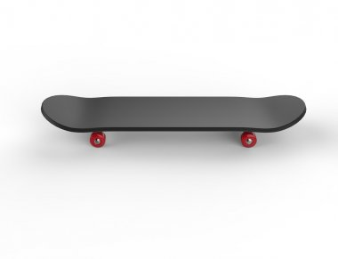 Black skateboard with red wheels - top view, on white background, ideal for digital and print design. stock vector