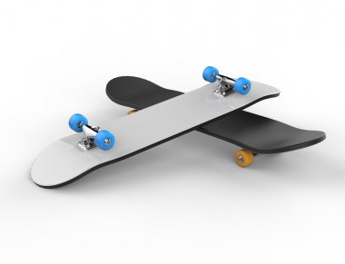 Two skateboards on top of each oter, on white background, ideal for digital and print design. stock vector
