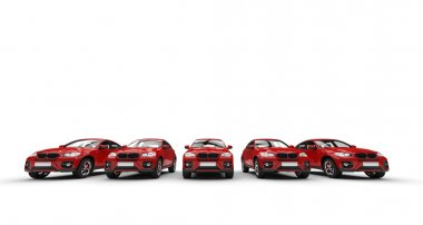 Row of red cars - front view