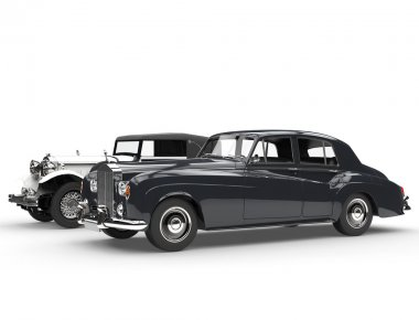 Cllassic black and white vintage cars