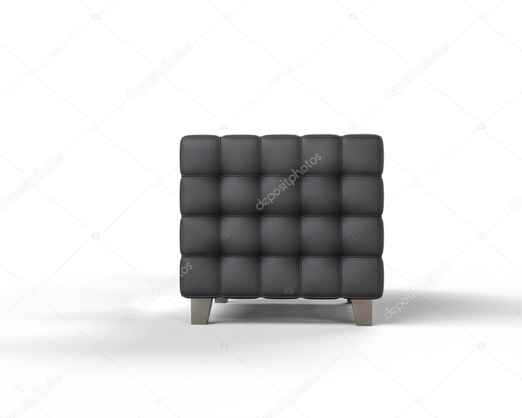 Black Leather Armchair On White Background, Side View.u2013 Stock Image