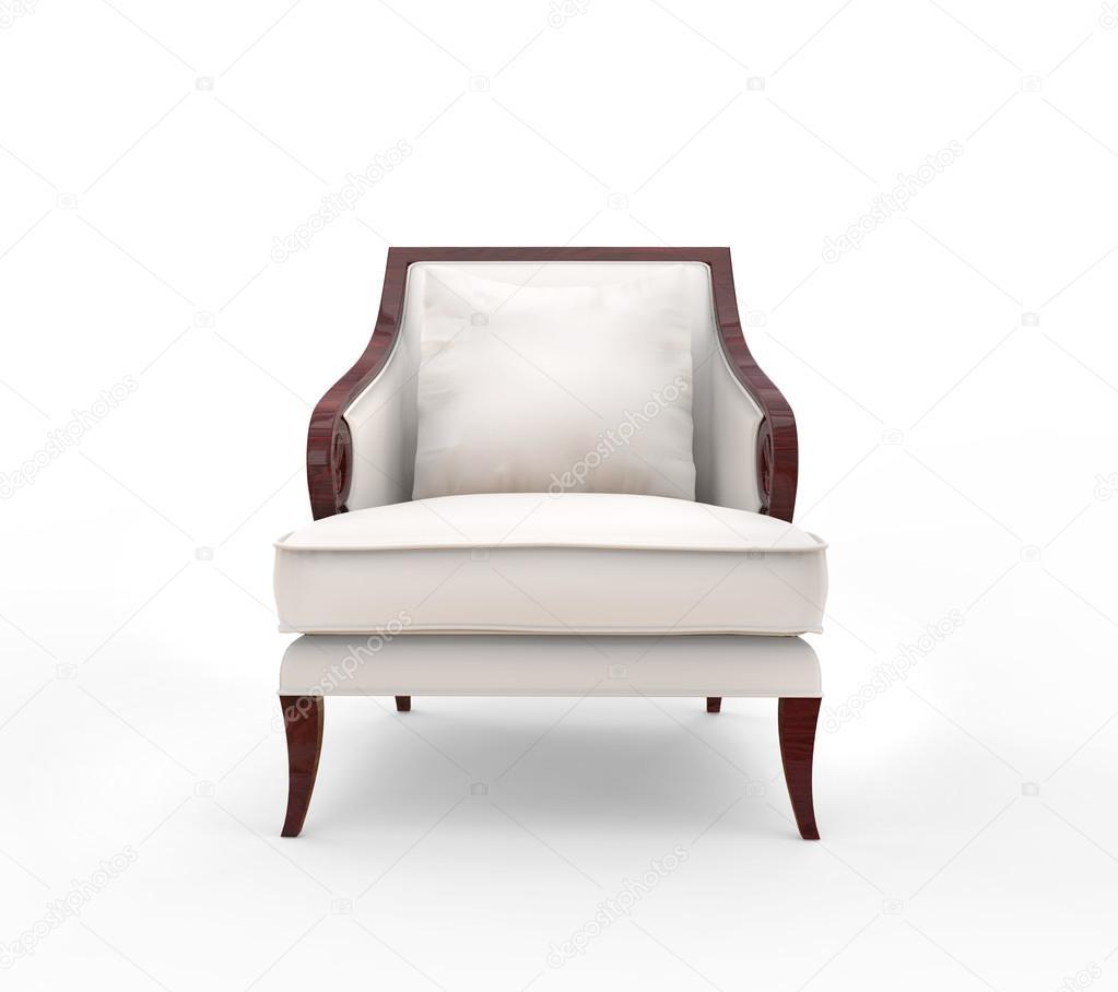 Weisser Sessel Mit Holz Armlehnen Vorderansicht Stockfoto