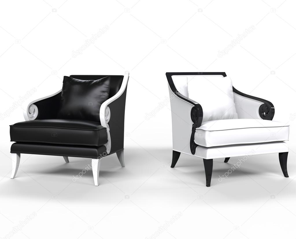 Zwart wit lederen fauteuils met verschillende armleuningen