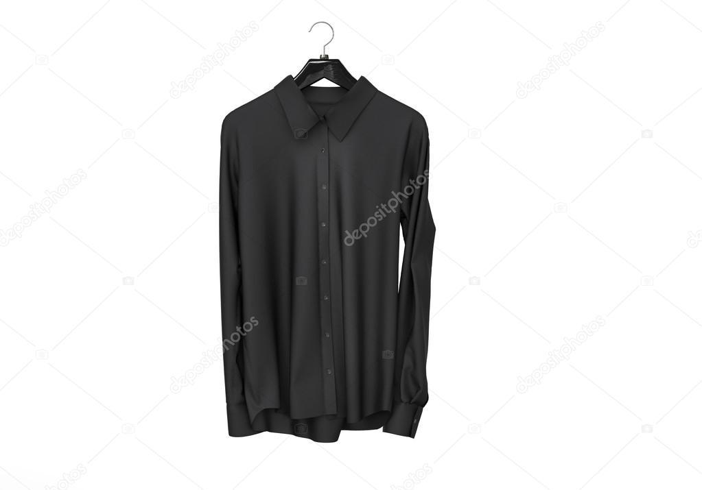 17b3ea06b56c Μαύρο μακρύ μανίκι πουκάμισο που απομονώνονται σε λευκό φόντο — Εικόνα από  ...