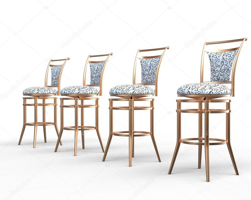 Four Coffee Shop Chairs On White Background   Close Up. U2014 Stock Photo