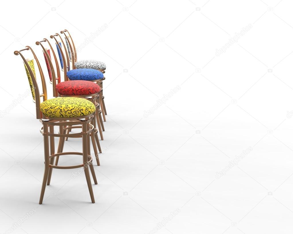 Rood Blauwe Stoel : Rood blauw geel en wit coffeeshop stoelen zijaanzicht