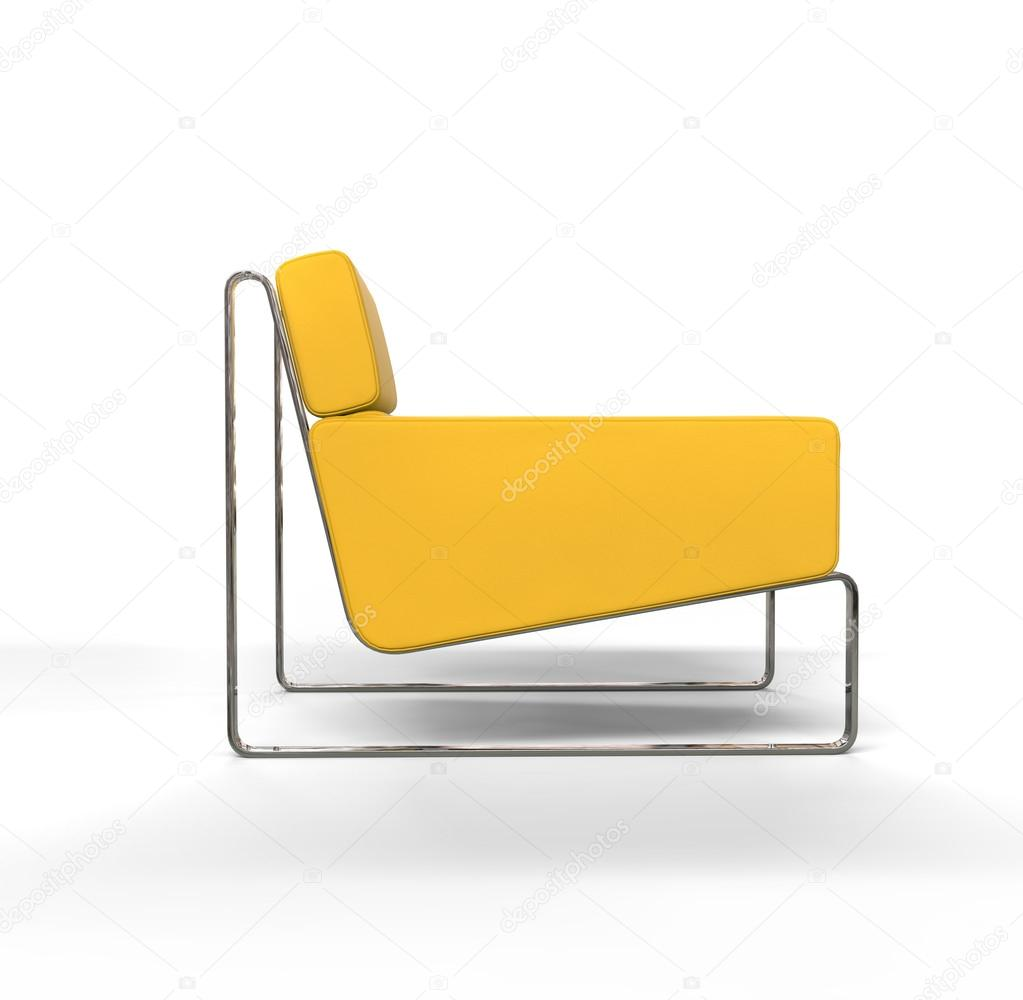 Yellow Modern Armchair On White Background Side View Stock