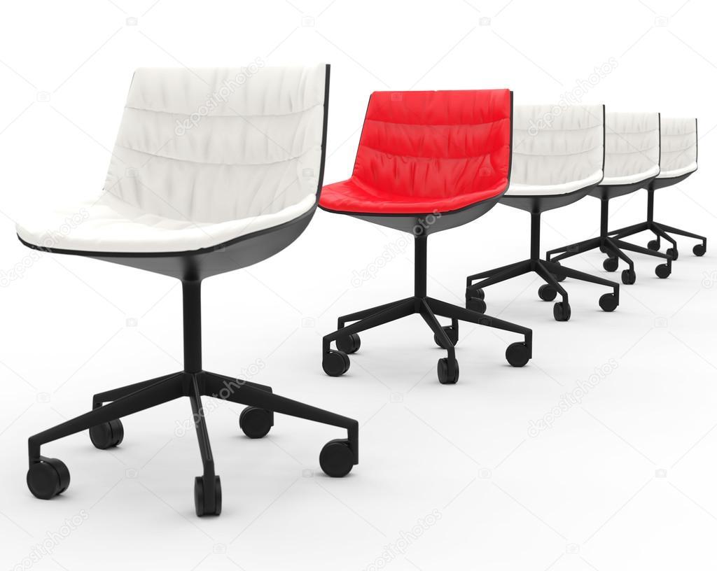 da ufficio rossa nella fila di sedie per ufficio bianco con ... - Sedie Da Ufficio Rosse