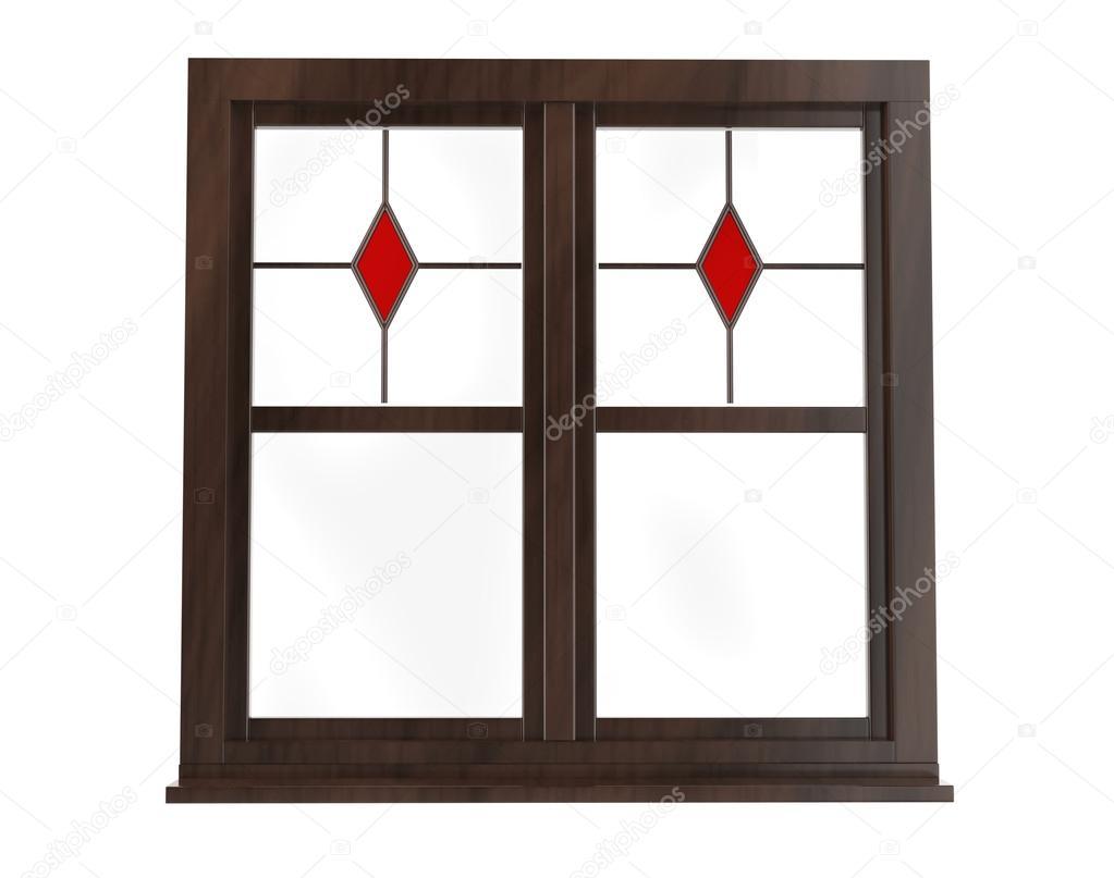 Marco de la ventana oscura con vidrieras - vista frontal — Foto de ...