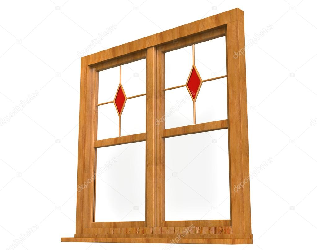 Wooden window frame with stained glass - low angle — Stock Photo ...
