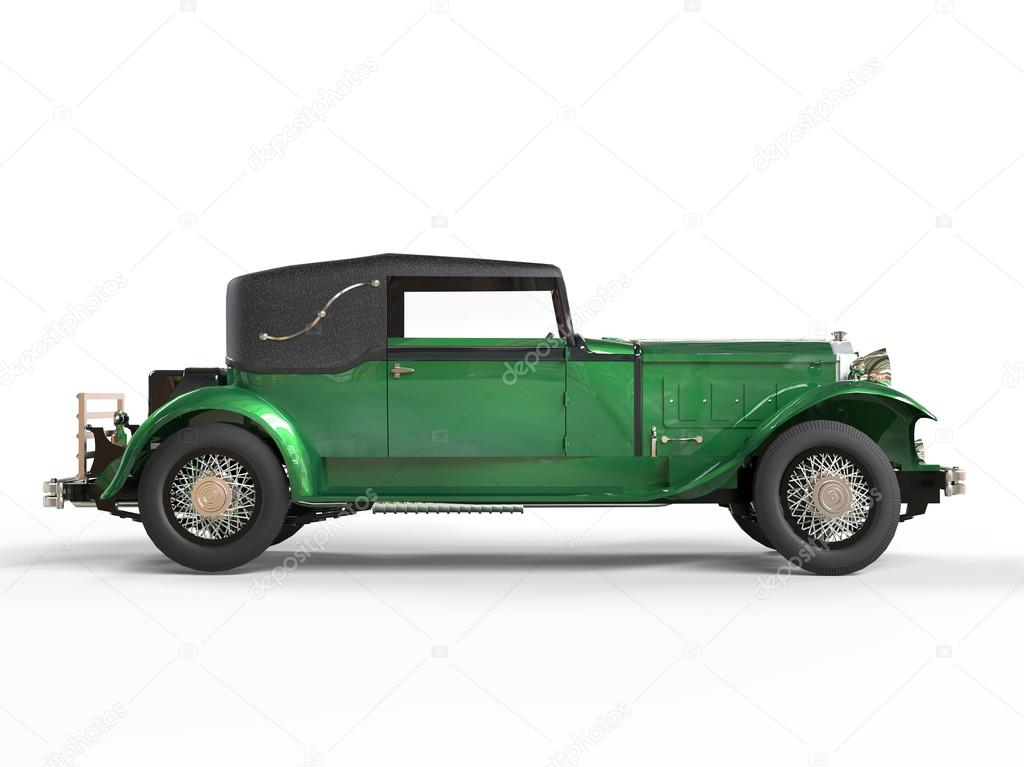 Green Elegant Vintage Car Side View Stock Editorial Photo