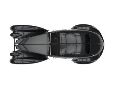 Black Vintage Concept Car - Top View