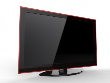 Modern stylish TV screen with red rim