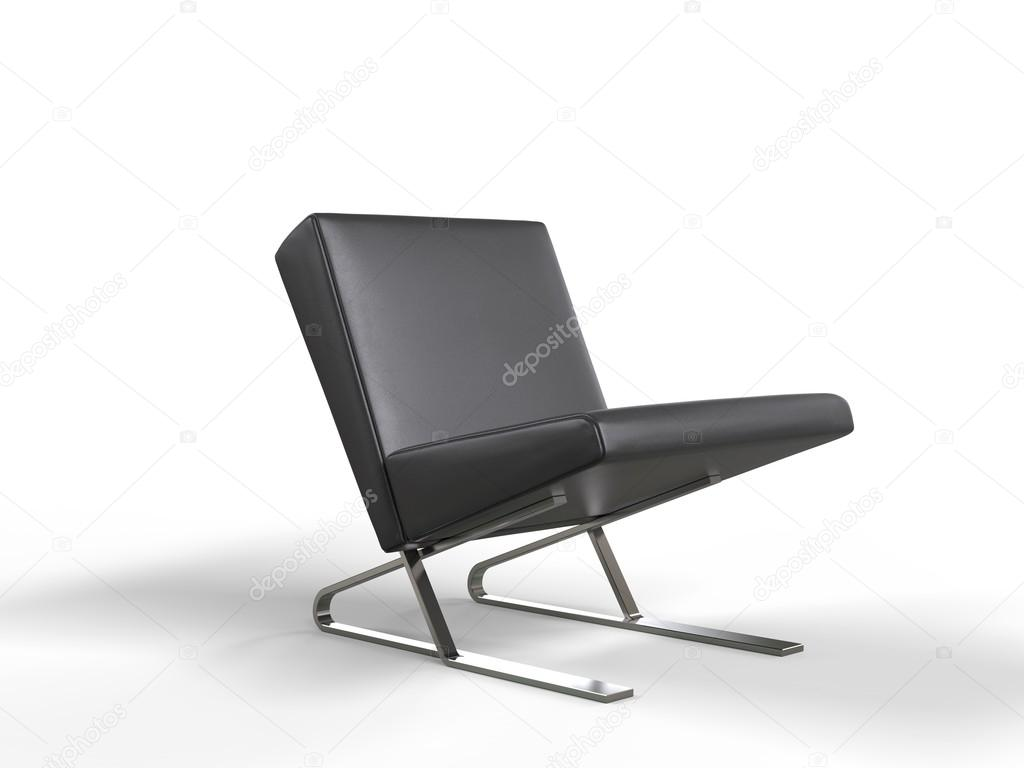Moderne zwarte lederen fauteuil u stockfoto trimitrius