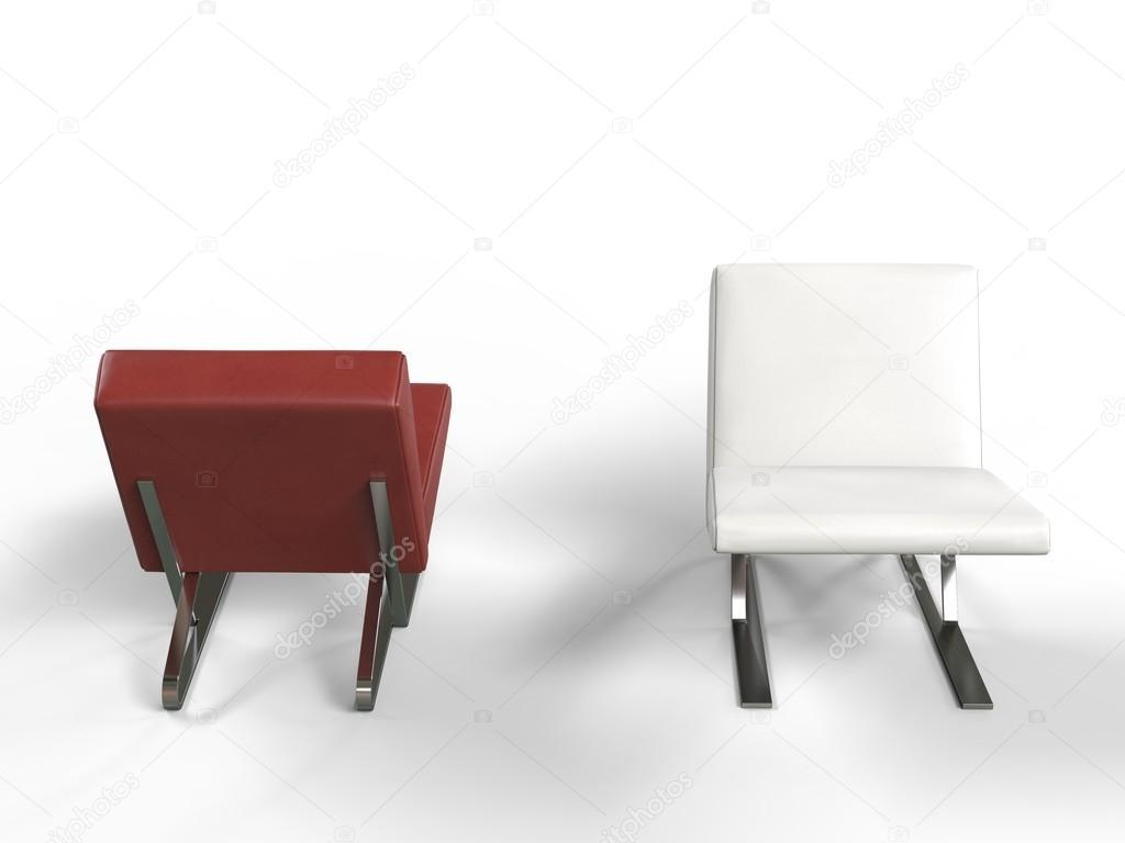 Moderne rode en witte lederen fauteuils u stockfoto trimitrius
