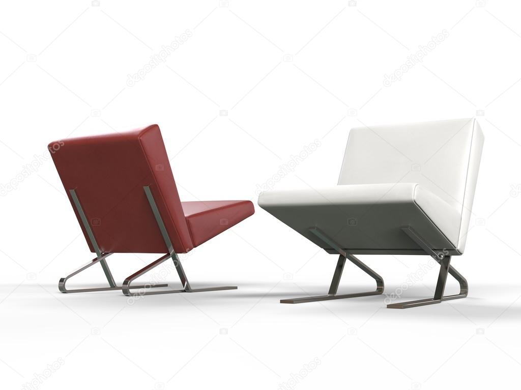 Moderne rode en witte lederen fauteuils zijaanzicht u stockfoto