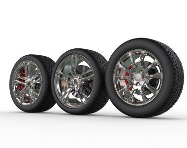Car wheels - rims variations - side view