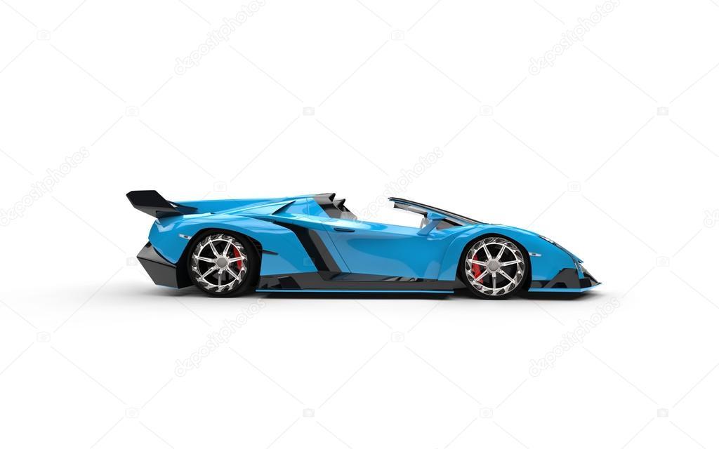 Blue supercar on white...